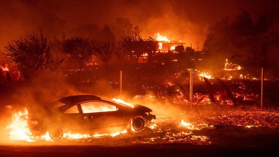 Разрушительные лесные пожары  в Калифорнии
