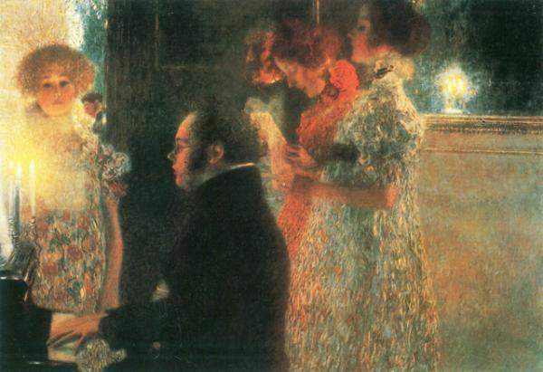 Густав Климт «Шуберт за фортепиано», 1899 г.